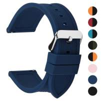 Fullmosa Silicone Rubber 18mm 20mm 22mm 24mm Watch Band,8 Colors for Rainbow Quick Release Watch Strap with Stainless Steel Buckle