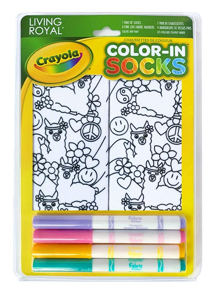 Living Royal Crayola Kid's Color-in Socks - Includes 1 Pair of Socks and 4 Fabric Markers (Peace Out Llama)
