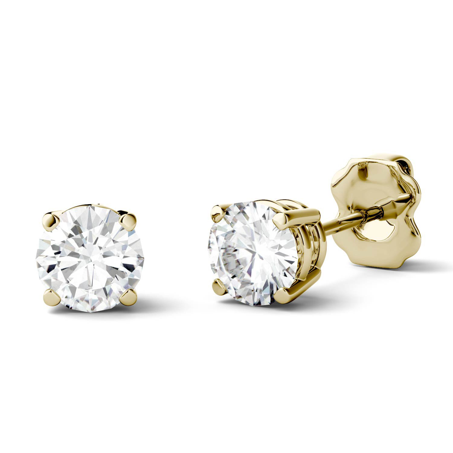 Forever One 5.0mm Round Cut Moissanite Stud Earrings, 1.00cttw DEW (D-E-F) by Charles & Colvard