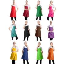 TSD STORY Total 12 PCS Plain Color Bib Aprons Bulk with 2 Front Pockets-Painting Baking Aprons for Women Men (12 Mixed Colours)