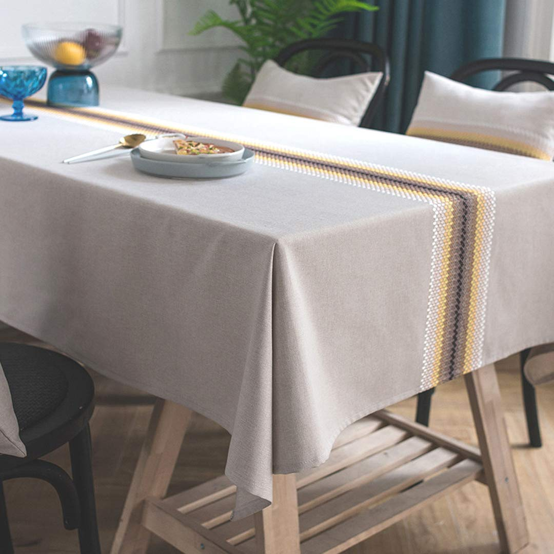 Bringsine Embroidery Tablecloth Heavy Weight Cotton Linen Fabric Dust-Proof Water-Proof Table Cloth Cover for Kitchen Dinning Tabletop Deco Yellow and White Line(Rectangle/Oblong, 53 x 102Inch)