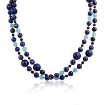 Bling Jewelry Blue Shades Aqua Quartz Blue Lapis Black Onyx Gemstone Ball Bead Strand Pendant Long Warp Layer Necklace for Women 40 in