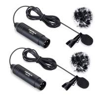 Comica XLR Microphone CVM-V02O 2 Pack 14.76 fts Phantom Power Omni-Directional Lavalier Lapel Microphone for Canon Sony Panasonic Camcorders Zoom H4n H5 H6 Tascam DR-40 DR-60D DR-70D DR-100 Recorders