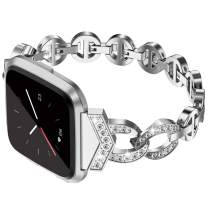 TOYOUTHS Bling Strap Compatible with Fitbit Versa/Versa 2/Versa Lite Special Edition Bands Women Stainless Steel Metal Replacement Bracelet with Diamonds Wristband Accessories Silver