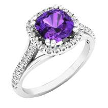 Dazzlingrock Collection 14K 7 MM Cushion Gemstone & Round White Diamond Ladies Halo Style Engagement Ring, White Gold