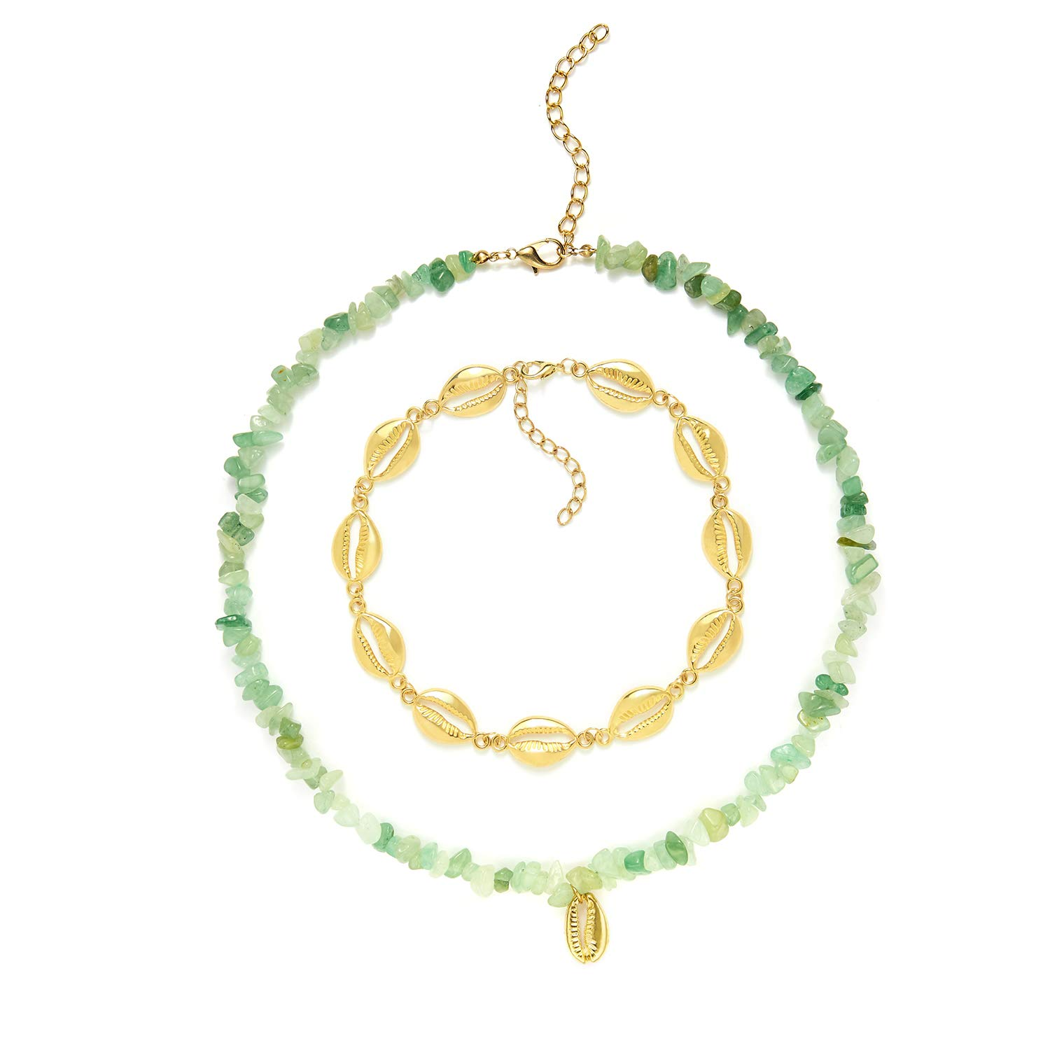 SIVNI Shell Choker Necklace for Women Girls Boho Beaded Chokers Layered Statement Gold Necklace