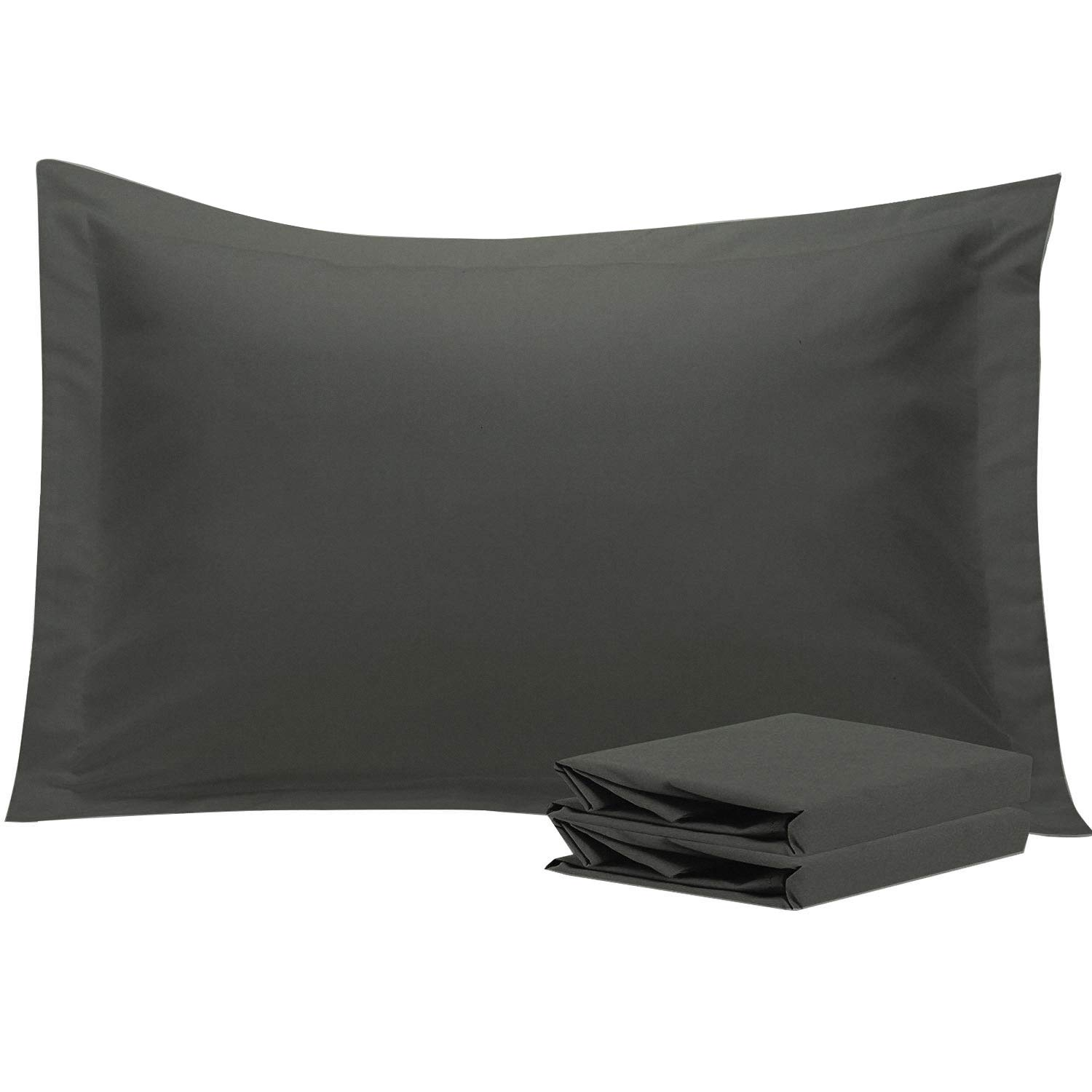 NTBAY King Pillow Shams, Set of 2, 100% Brushed Microfiber, Soft and Cozy, Wrinkle, Fade, Stain Resistant (Dark Grey, King)