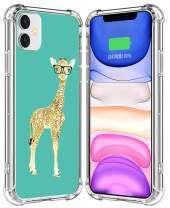 IWONE Case for iPhone 11 Giraffe Designer Rubber Durable Protective Skin Transparent Clear Cover Shockproof Compatible for iPhone 11 Cute Funny Lovely Little Giraffe in Glasses Animal