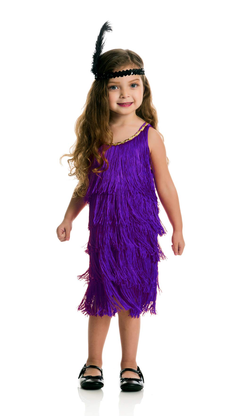 Charades Fashion Flapper Children's Costume Dress, X-Small Purple