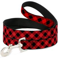 Buckle-Down Dog Leash Diagonal Buffalo Plaid Black Red Available in Different Lengths and Widths for Small Medium Large Dogs and Cats