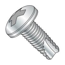 "Steel Thread Cutting Screw, Zinc Plated Finish, Pan Head, Phillips Drive, Type 23, #10-24 Thread Size, 3/4"" Length (Pack of 100)"