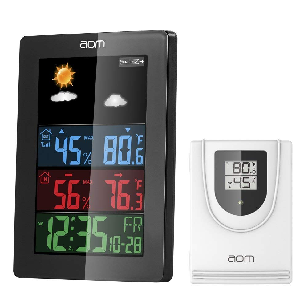 Wireless Weather Station, Indoor Outdoor Thermometer with Color LCD Screen Accurate Temperature and Humidity Monitor Alarm Clock Adjustable Brightness for Home and Office