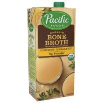 Organic Bone Broth, Original Chicken by Pacific Foods 32oz Cartons, 12-Pack Keto Friendly