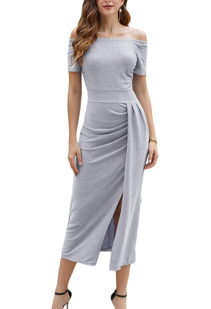 Women Semi Formal Dresses -Off The Shoulder Wrap Front Slit Sparkly Midi Evening Dress Party Wear Gray
