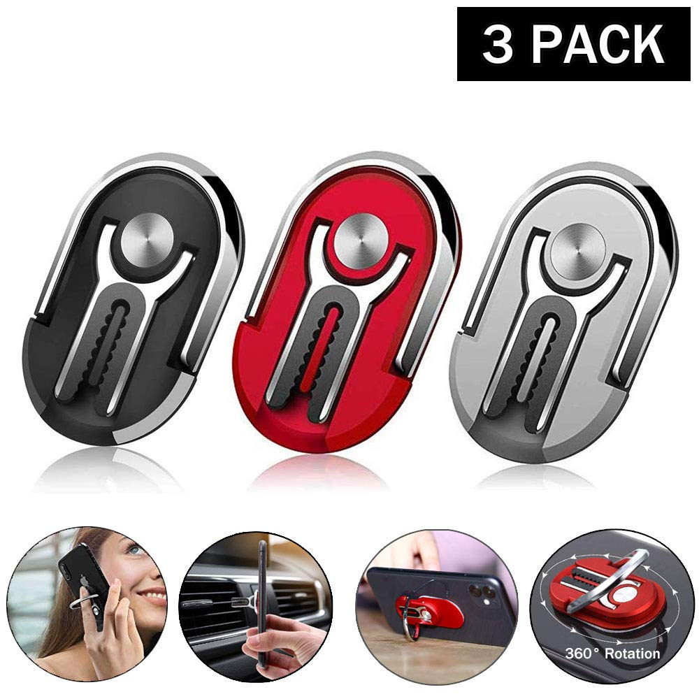 Multipurpose Mobile Phone Bracket Cell Phone Ring Holder Stand Two in One Universal for Phone Navigation Bracket 360°Rotation & 90°Flip Vent Car Phone Mount and Finger Grip