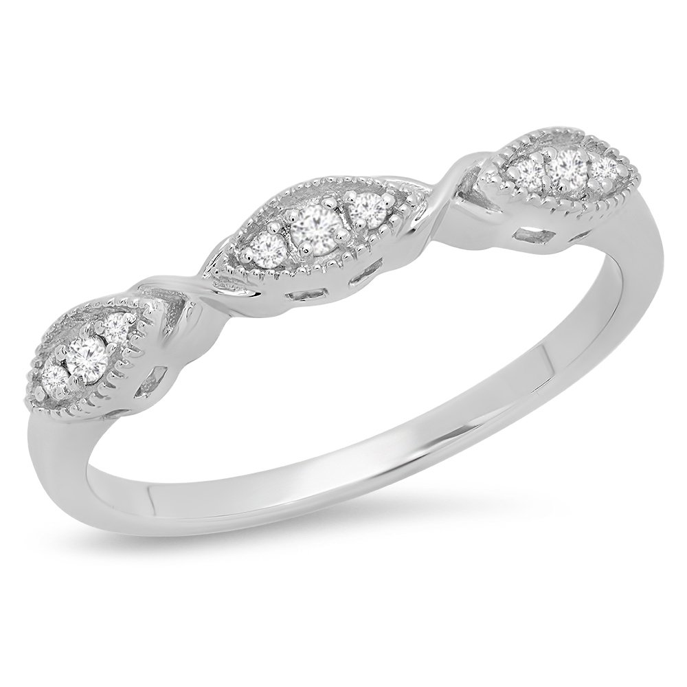 0.55 Carat Ctw 14K White Gold Over .925 Sterling Silver Round Cut Diamond Ladies Anniversary Wedding Guard Contour Band 12 CT