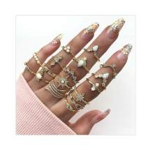 Edary Boho Crystal Rings Set Sun Ring Gold Joint Knuckle Rings for Women and Girls.(17PCS)