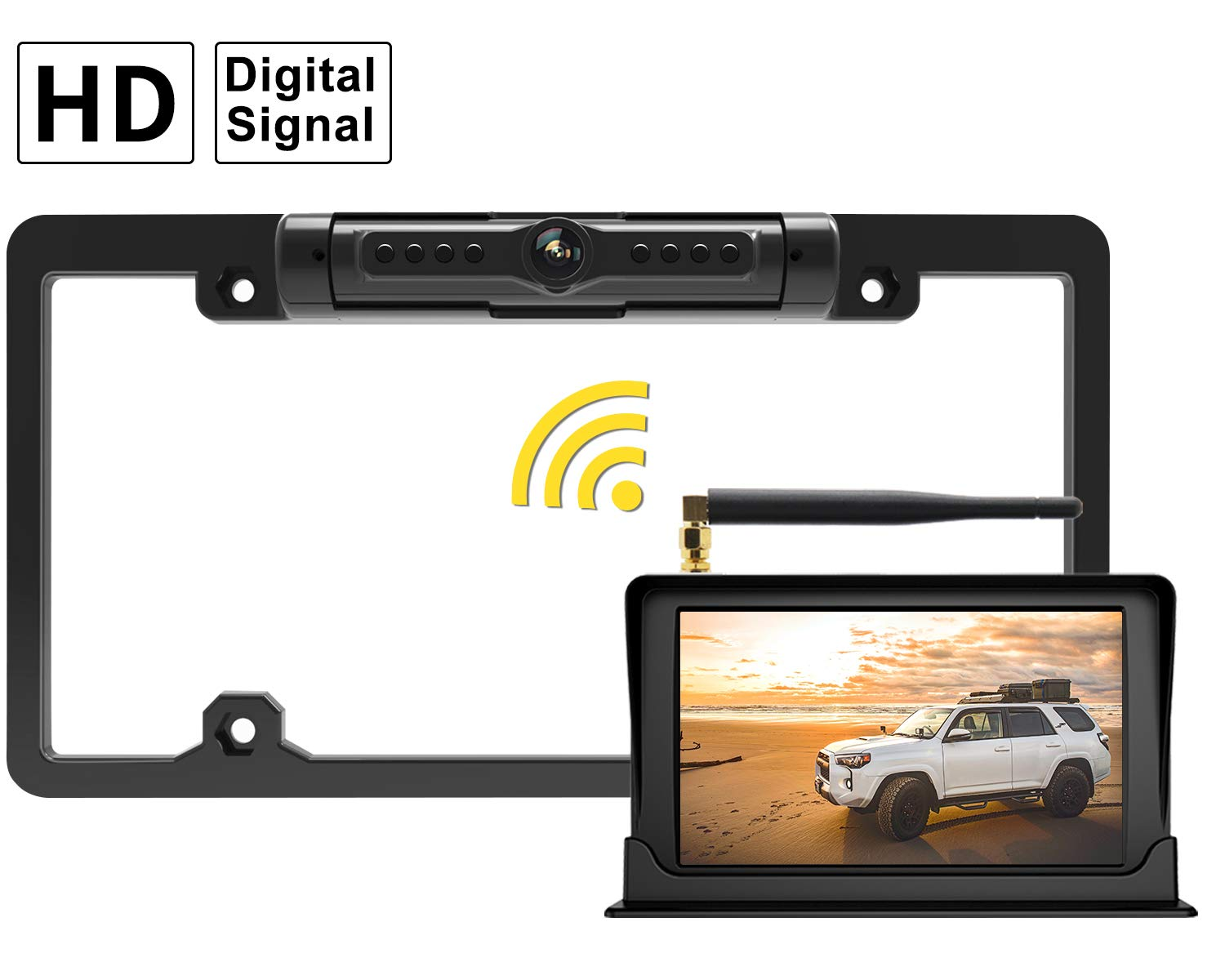 """FOOKOO Wireless Backup Camera and Monitor Kit 5"""" HD Screen License Plate Camera with Frame IP69K Waterproof Rear View Camera with Parking Lines Universal for All Cars as SUV, Pickup, Truck, Minivan"""