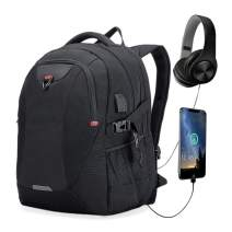 Extra Large Laptop Backpack Travel Computer Backpack with USB Charging Port for Men&Women Water Resistant Big Business College School Bookbag with Luggage Sleeve Fit 17.3 Inch Laptop 40L (Black)
