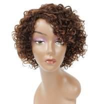 Short Curly Wigs for Black Women Human Hair Highlight Chocolate Brown Mix Medium Auburn Short Curly Human Hair Wigs for Middle-Aged Women
