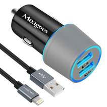 Meagoes Car Charger MFi Certified, 24W/4.8A Dual USB Ports Car Charging Adapter Compatible for Apple iPhone 11/Pro/Max/SE 2020/XS/XR/X/8 Plus/8/7/6S/6/SE, with 3.3ft USB Lightning Cable Cord
