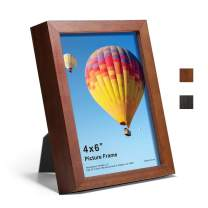 4x6 Picture Frame Solid Wood Photo Frame Display 4x6 Photo for Tabletop/Desktop or Wall Mounting Decoration, 1 Pack, Brown
