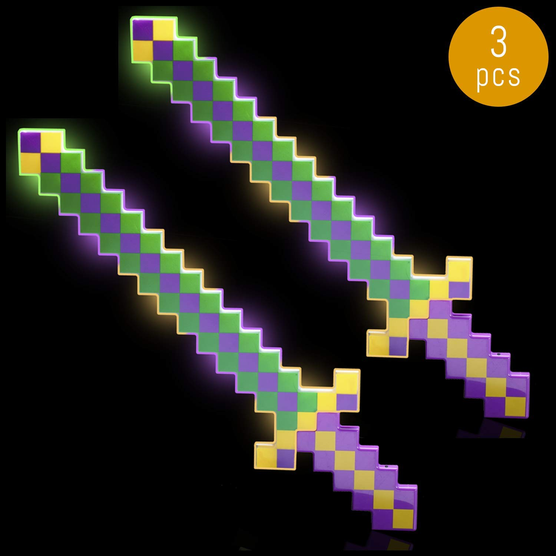 Lumistick LED Light Up Diamond Pixel Sword 24 Inch   Multicolor Ultra Bright Flashing Light Motion Activated Dagger Blade Glowing Illuminates Sword (3 Swords, Green & Purple)