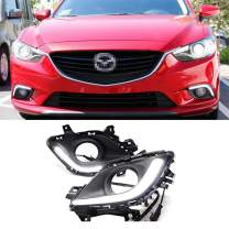 iJDMTOY Xenon White LED Daytime Running Lights Compatible With 2014-2016 Mazda6 (Atenza), Fiber Optics DRL Bezel Assembly Powered by 7.5W High Power CREE LED Lights Each Lamp