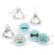 Dashing Little Man Mustache Party - Baby Shower or Birthday Party Round Candy Sticker Favors - Labels Fit Hershey's Kisses (1 Sheet of 108)