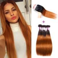 "1B/30 Ombre Brazilian Hair Straight 3 Bundles with Closure Black to Dark Brown Silky Straight Human Hair Free Part Lace Closure Baby Hair (10"" 10"" 10"" & Closure 10"")"