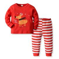 MOLYHUA Kids Pajamas Set Cotton, Girls Boys PJS Set Long Sleeve Pjs Top and Pants Set Cute Xmas Sleepwear