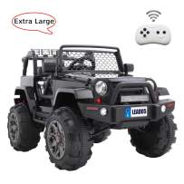 VALUE BOX Luxury Large Ride On Truck, 12V Battery Electric Kids Toddler Motorized Vehicles Toy Car w/ Remote Control, 3 Speeds, Spring Suspension, Seat Belts, LED Lights and Realistic Horns (Black)
