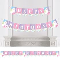 Big Dot of Happiness Rainbow Unicorn - Birthday Party Bunting Banner - Magical Unicorn Party Decorations - Happy Birthday