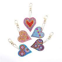 UPMALL 5D Diamond Painting Kit Keychain, 5Pcs DIY Handmade Full Diamond Painting Decorative Accessories Heart Shaped Crafts