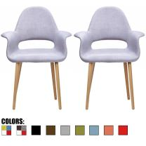 2xhome – Set of 2, Gray Mid Century Modern Upholstered Fabric Organic Accent Living Room Dining Chair Armchair Set with Arms Back Armrest Natural Light Wood Wooden Legs for Kitchen Bedroom