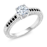 Gem Stone King 925 Sterling Silver White Created Sapphire and Black Diamond Engagement Ring (1.37 Cttw)