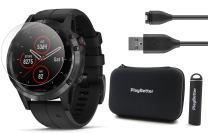 Garmin Fenix 5 Plus+ Sapphire Bundle with Screen Protectors, PlayBetter Portable Charger & Protective Case | Multisport GPS Watch, TOPO Maps, Garmin Pay, Music (Black with Black Band)