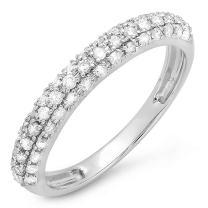0.43 Carat (ctw) 18K Gold Round White Diamond Ladies Wedding Band Stackable Ring