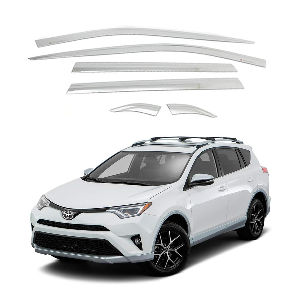 AUTOCLOVER Side Window Vent Visor 6 Piece Set for Toyota Rav4 2019 2020 2021 (Chrome)