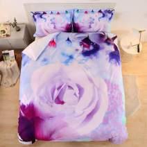 ENJOHOS Purple Flower Bedding Full for Girls 3PCS Elegant Rose Print Ultra Soft and Comfortable Duvet Cover Set with 2 Pillow Shams Included