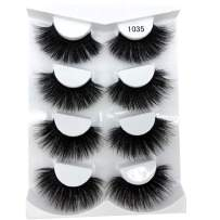HBZGTLAD NEW 4 Pairs 3D Mink Hair False Eyelashes Criss-cross Wispy Cross Fluffy length 25mm Lashes Extension Handmade Eye Makeup Tools (1035)