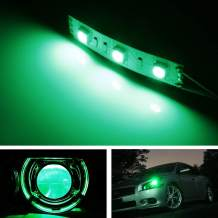 iJDMTOY (2) v2. Green 3-SMD-5050 LED Modules Compatible With Car Motorcycle Projector Headlight Demon Eyes Retrofit