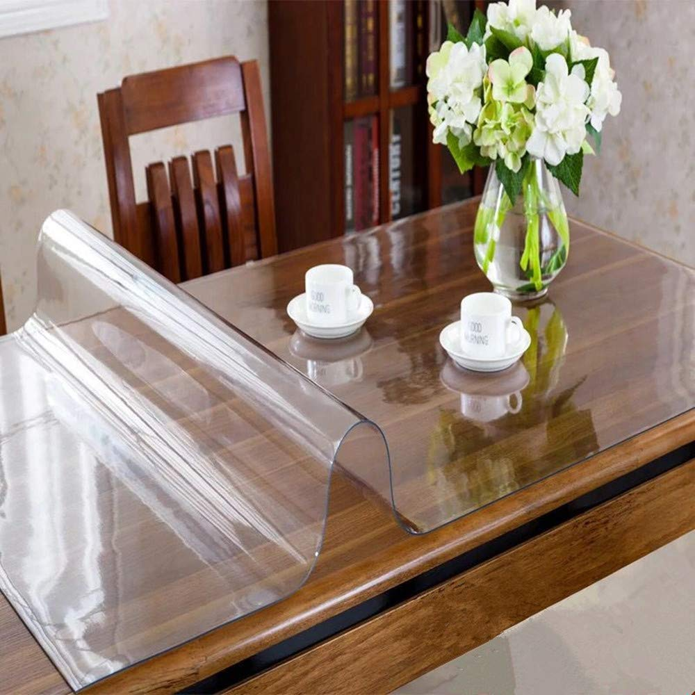 OstepDecor Custom 2.0mm Thick Crystal Clear Table Cover Protector - 60 x 42 Inch Table Pads for Dining Room Table Rectangular Vinyl Non-Slip Desk Pad for Coffee Table, Writing Desk