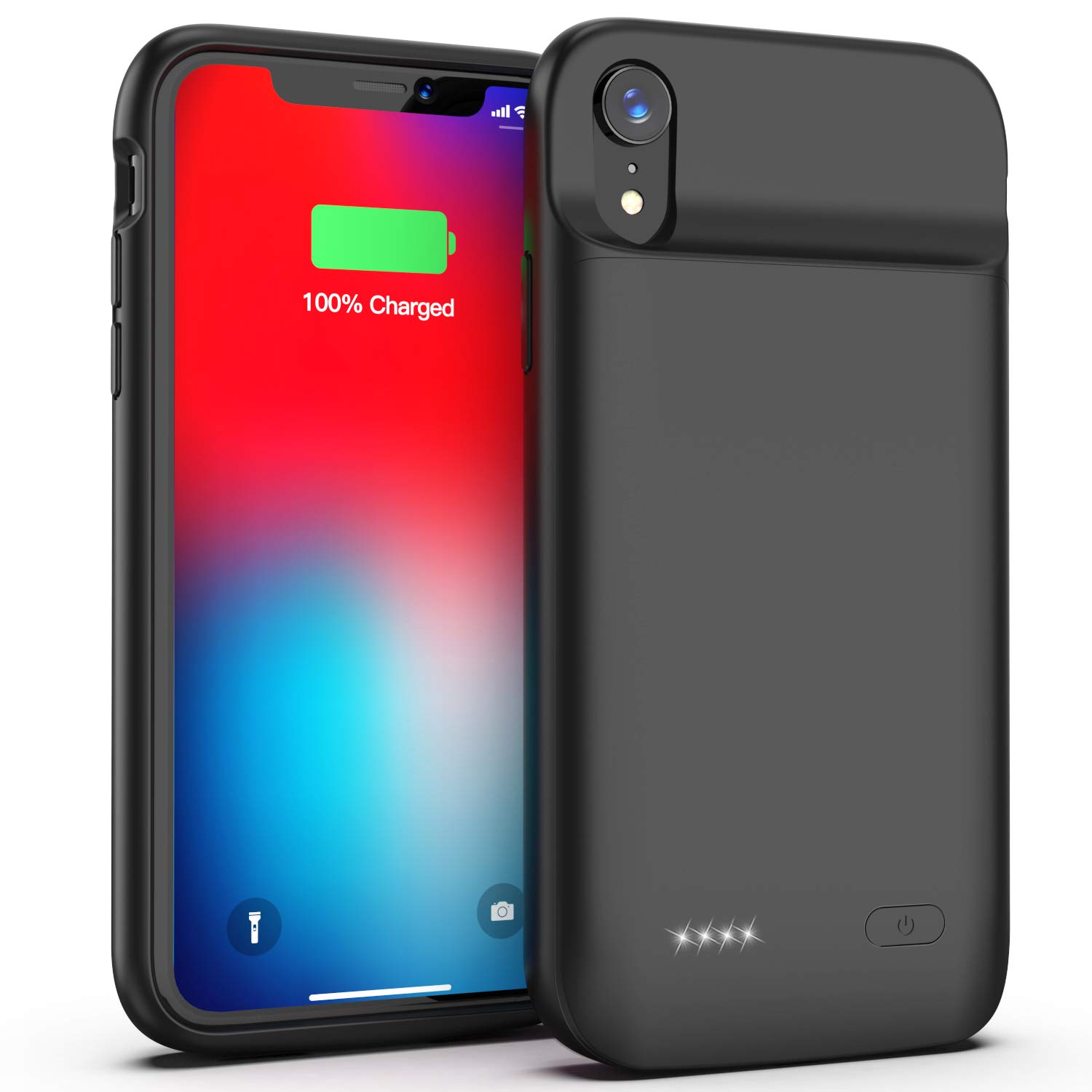 Swaller Battery Case for iPhone XR, Slim Protective Charger Case for iPhone XR Extended Battery Case, 5000mAh Rechargeable Charging Case Compatible with iPhone XR (Black)