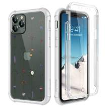 """SURITCH Clear Case for iPhone 11 Pro, [Built-in Screen Protector] Shockproof Hybrid Full Body Rugged Bumper Transparent with Floral Pattern Protective Case for iPhone 11 Pro 5.8"""" (Tree Vine Flower)"""