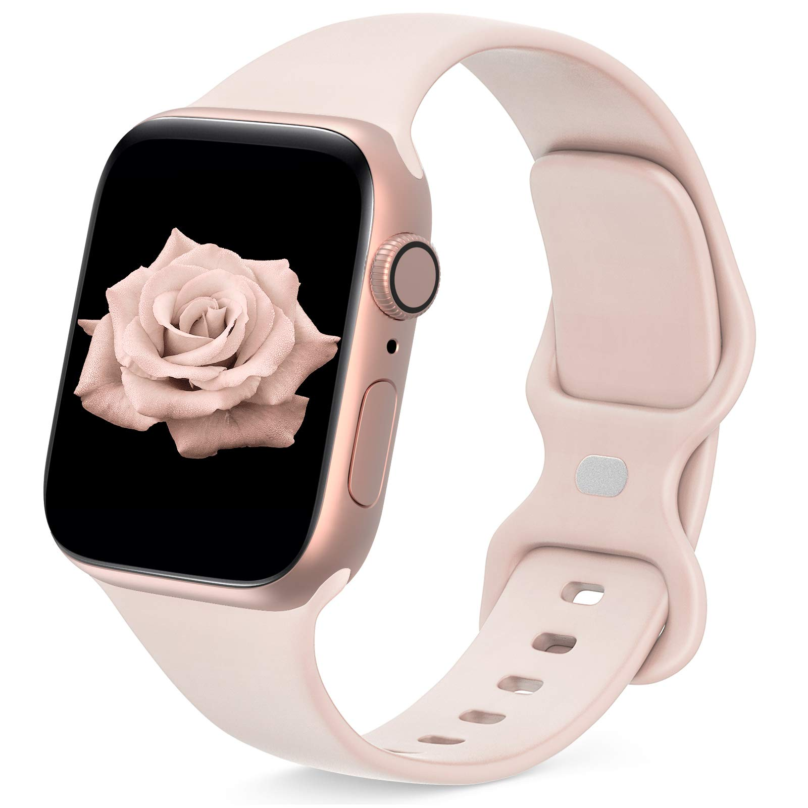 JINGMAX Sport Band Compatible with Apple Watch Band 38mm 40mm 42mm 44mm for Women Men, Soft Silicone Strap Replacement Wristband for iwatch Series SE/6/5/4/3/2/1
