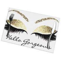 TianHeYue Hello Gorgeous Eyelash Placemats Set of 6, Non Slip Heat-Resistant Washable Table Place Mats for Kitchen Dining 12 X 18 Inch