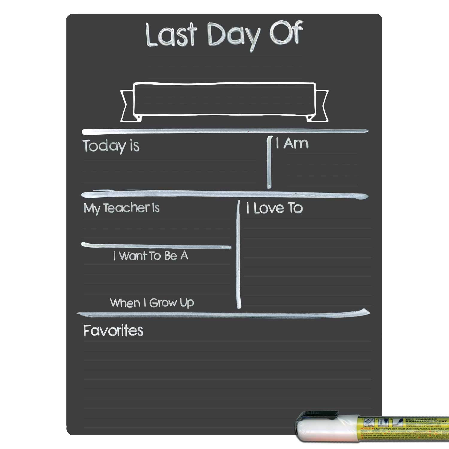 Cohas Design Your Own Last Day of School Milestone Board with Reusable Chalkboard Style Surface, 9 by 12 Inches, White Marker