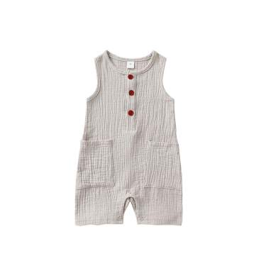 Happy Town One Piece Outfits Baby Solid Color Rompers with Button Kids Short Sleeve Playsuit Jumpsuits Cotton Clothing