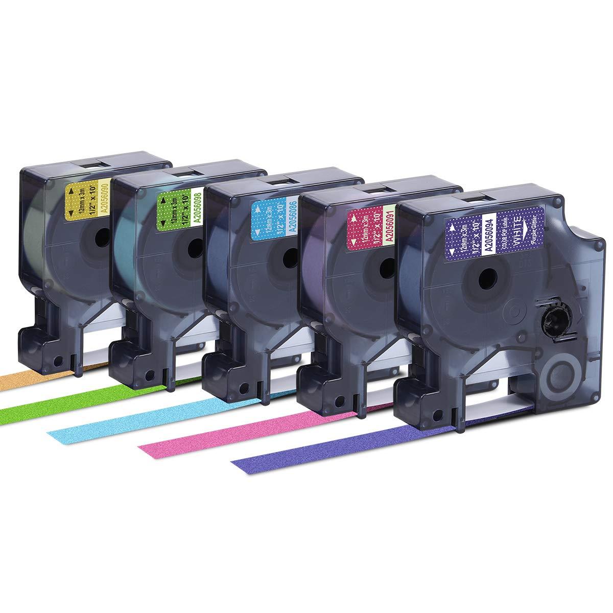"Oozmas Compatible Label Tape Replacement for DYMO COLORPOP Label Tape - D1 Label Maker Cassette 1/2"" W x 10' L- Work for DYMO COLORPOP, LabelManager 160 280 360D 420P, Muticolor Glitter, 5-Pack"